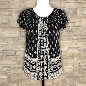 Style & Co. black and white motif top